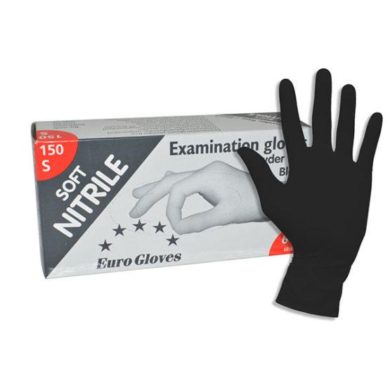 Soft-Nitrile Handschoenen Euro Gloves zwart L (poedervrij)